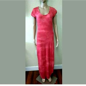 Free People Dress Maxi Tye Dye Print Lace Back (M)